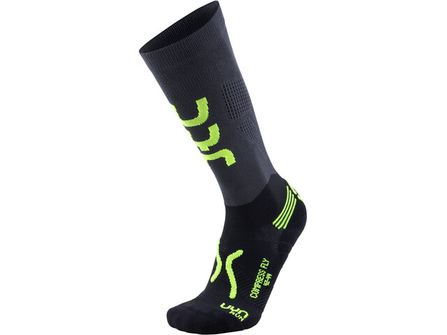UYN Run Compression Fly Sokken Heren, anthracite/yellow fluo